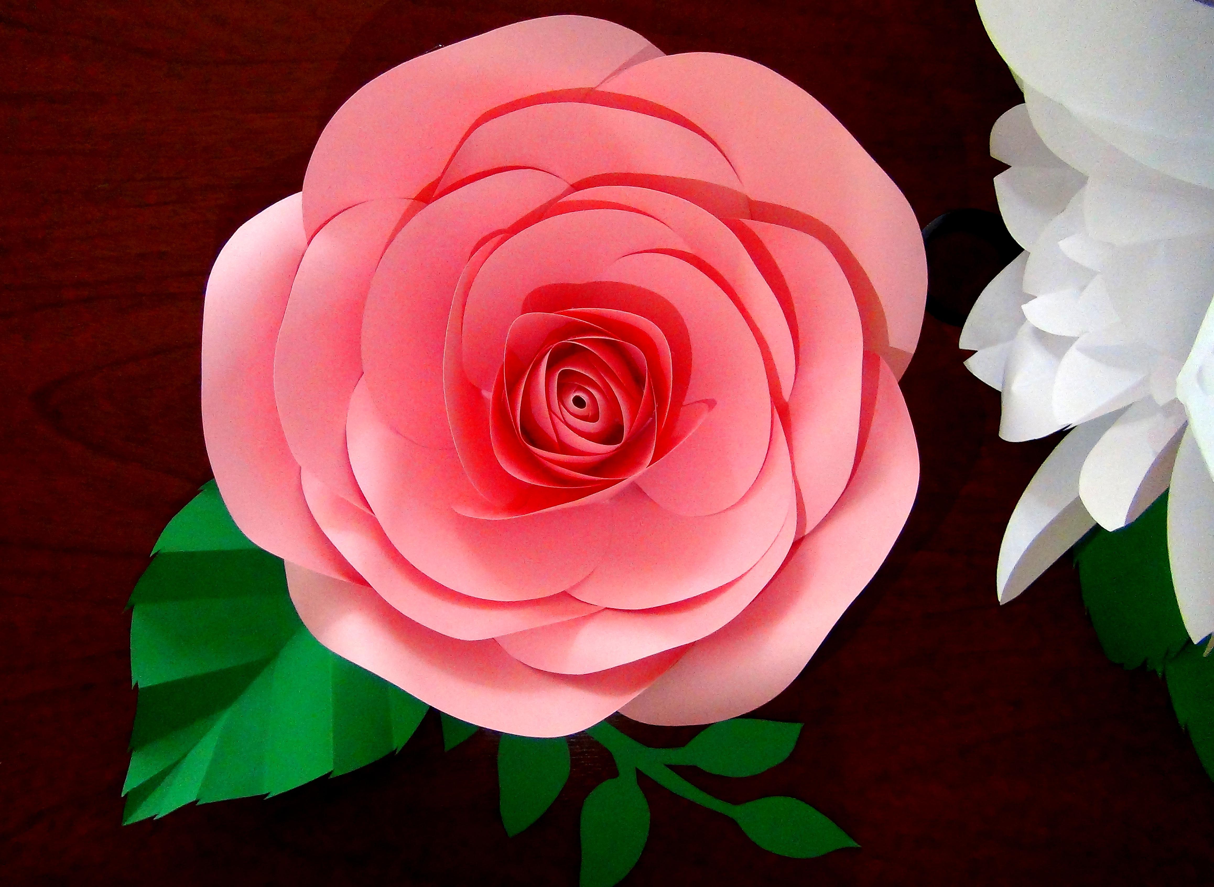 Molde De Rosa Gigante Con Hojas